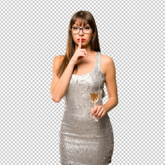 Christmass holidays. woman wearing a sequined dress with champagne celebrating new year 20