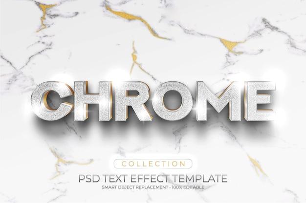 크롬 골드 빛나는 텍스트 효과 및 모형 로고 템플릿