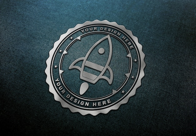 Chrome logo mockup on dark fabric texture