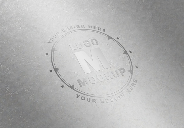 Chrome logo mockup on metal plate