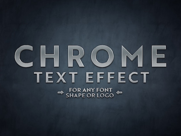 Chrome metal scuplted text effect mockup