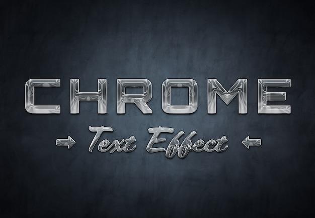Шаблон текста с эффектом хромированного металла