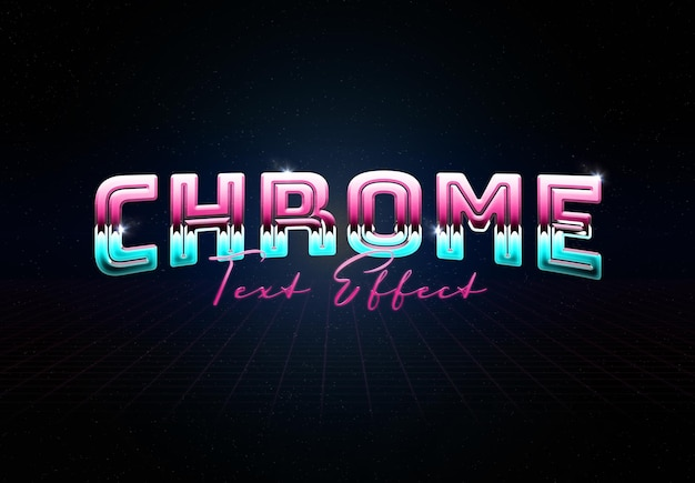 Chrome metal text effect with glossy reflection