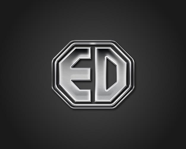 Chrome silver metal logo mock up