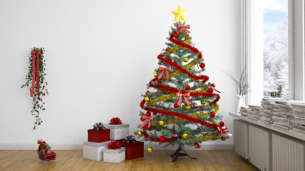 Chrsitmas tree and presents indoors