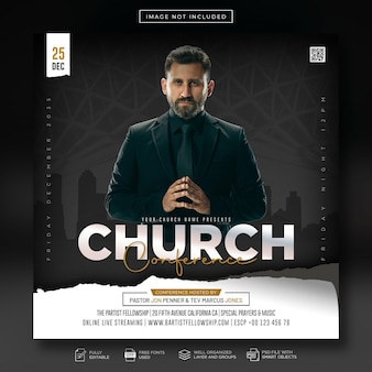 Church conference flyer pray and social media post and web banner template