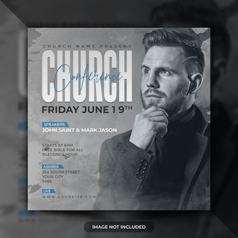 Church conference flyer social media post banner template