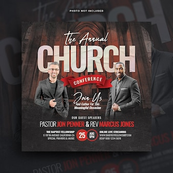 Church conference flyer social media post and web banner Premium Psd
