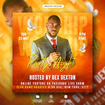 Church conference flyer and social media web banner template