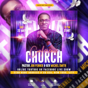 Church conference flyer social media web  template