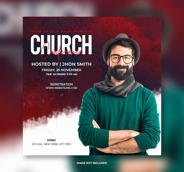 Church conference post banner template or poste template and social media post banner