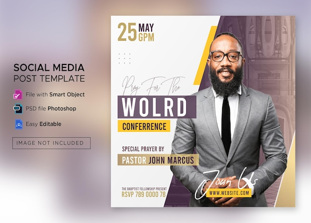 Church conference social media post or square flyer web banner template premium psd