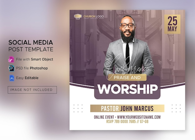 Church conference social media post or square flyer web banner template