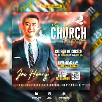 Church confernce flyer and social media instagram banner template