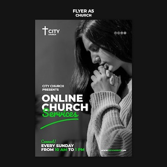 Church flyer with online services