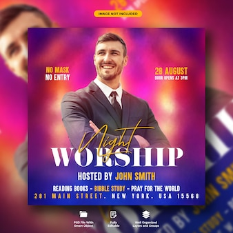 Church night flyer and social media banner template