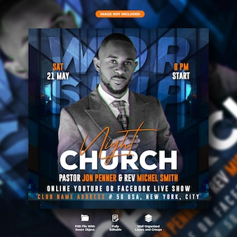 Church night party flyer and social media post template