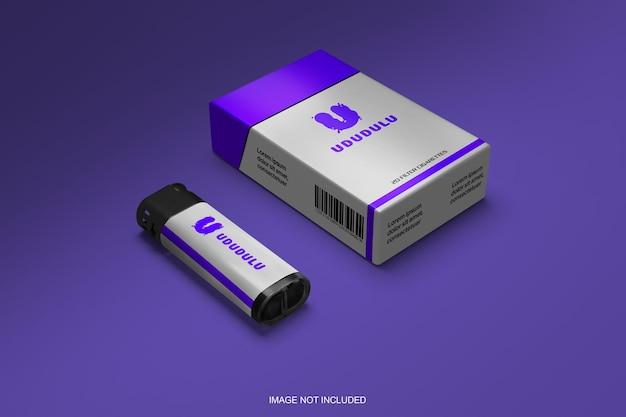 Коробка для сигарет и спички макет 3d визуализации Premium Psd