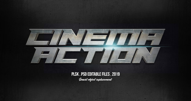 Cinema action 3d text style effect with lights