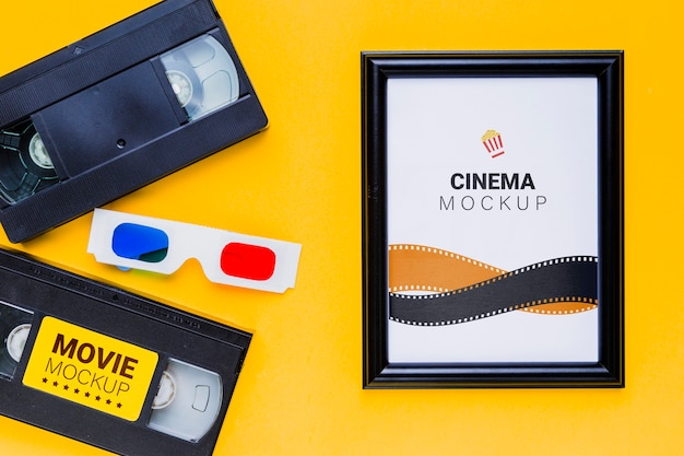 Cinema mock-up old tapes and 3d glasses