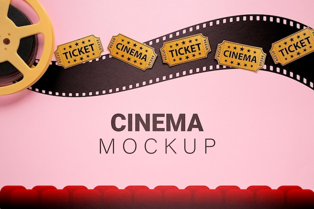 Cinema mockup with movie tickets