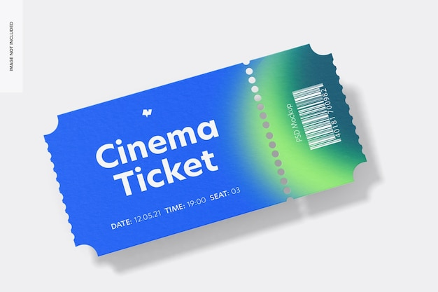 시네마 티켓 목업, 전면보기
