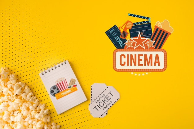Cinema tickets and popcorn top view