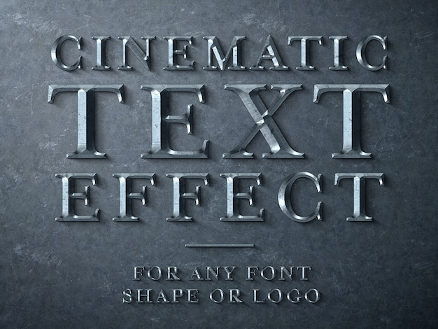 Cinematic metal scuplted text effect mockup