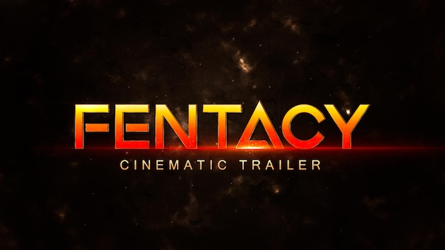Cinematic title template with shiny effect on dark background