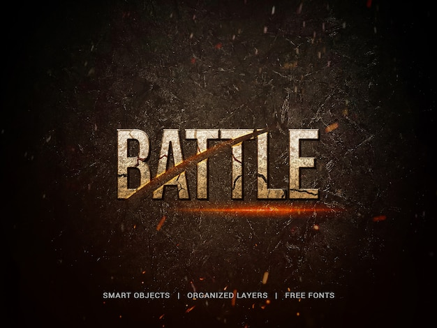Cinematic title with battle lettering