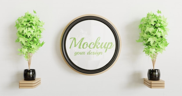 Circle black frame mockup on the white wall with wooden wall decoration