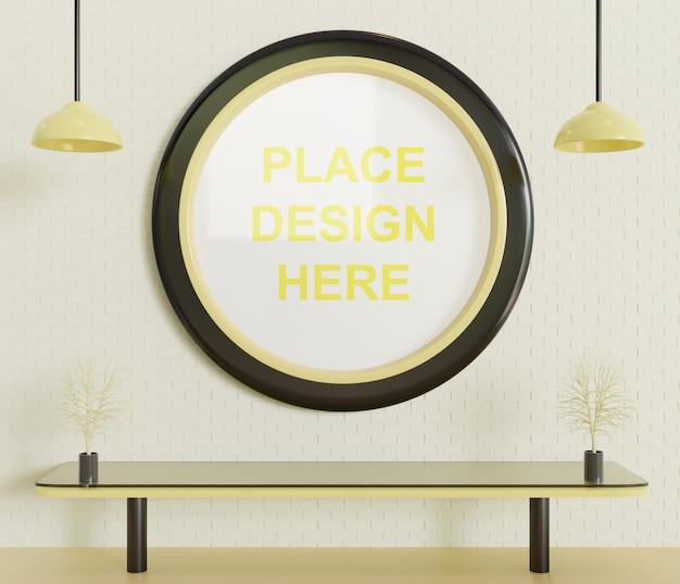 Circle frame mockup on the wall
