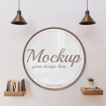 Circle frame mockup on white wall under lamp with book wall shelf