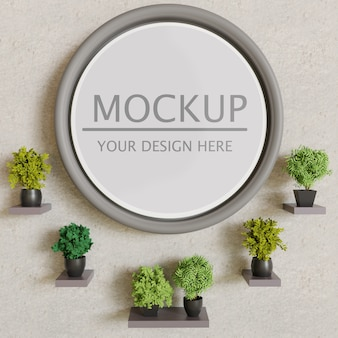 Circle frame mockup with plants on plaster wall