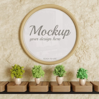 Circle glossy frame mockup on wall with plants decoration