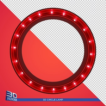 Circle lamp 3d rendering for party flyer elements