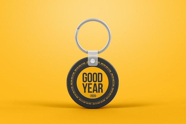 Circle plastic keychain mockup