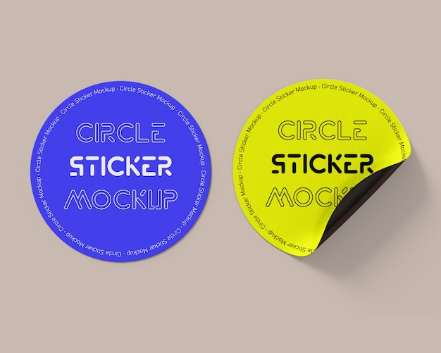 Circle sticker mockup template