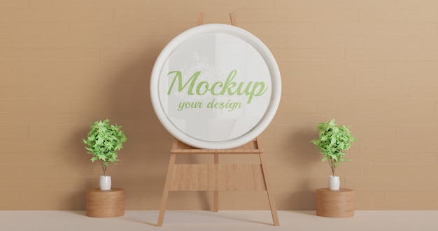 Circle white frame mockup standing on the wooden easel
