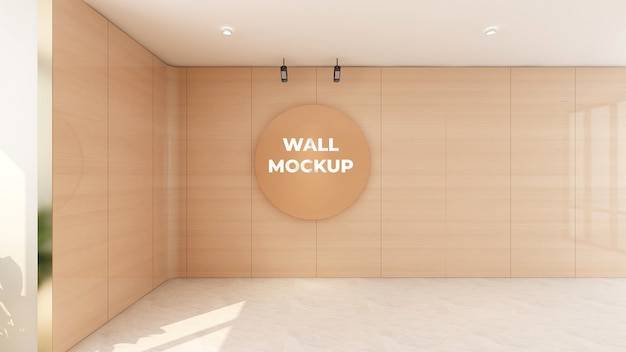 사무실 벽 디자인에 원형 나무 로고 모형