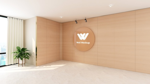 Circle wooden logo mockup in office wall design