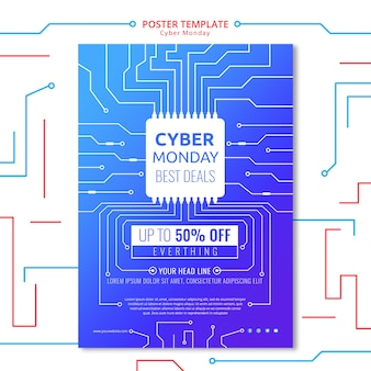 Circuit poster template cyber monday