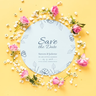 Circular paper mockup with wedding concept