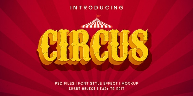 Circus vintage font style effect mockup