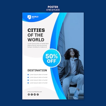 都市と場所のポスターテンプレート