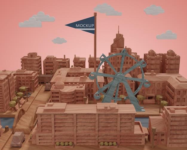책상에 도시 미니어처 모델