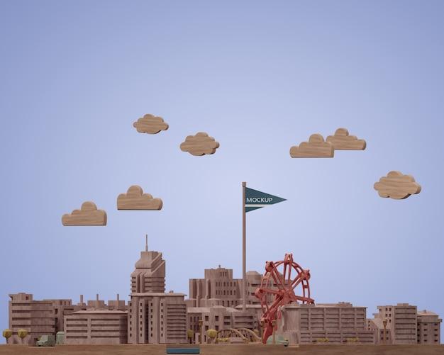 Modello di miniature di città con modello