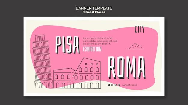 Modello di banner di città e luoghi