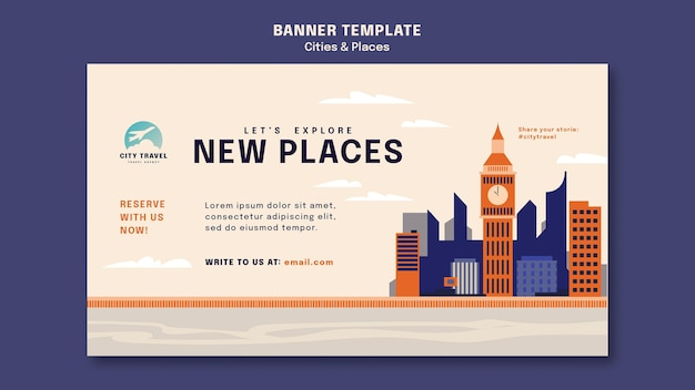 Cities and places banner template