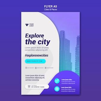 Modello di volantino di città e luoghi